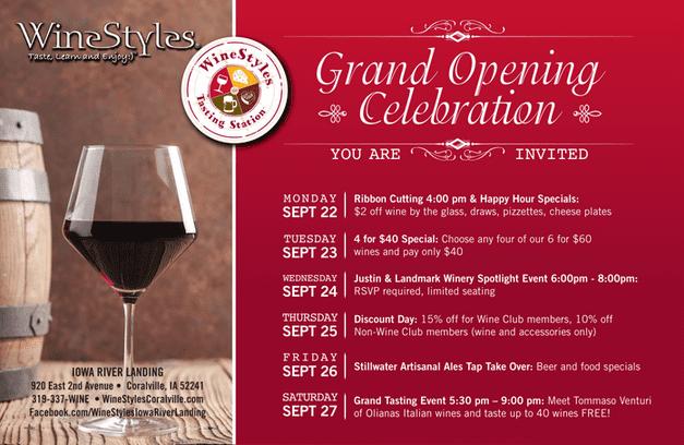 WineStyles Iowa River Landing Grand Opening Week